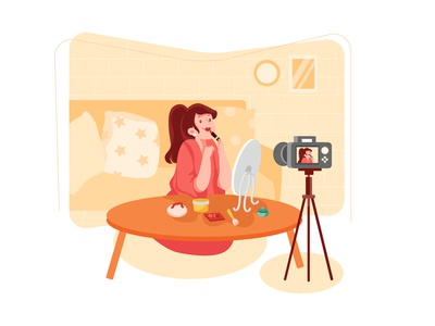 Influencer girl vlog broadcasting brand
