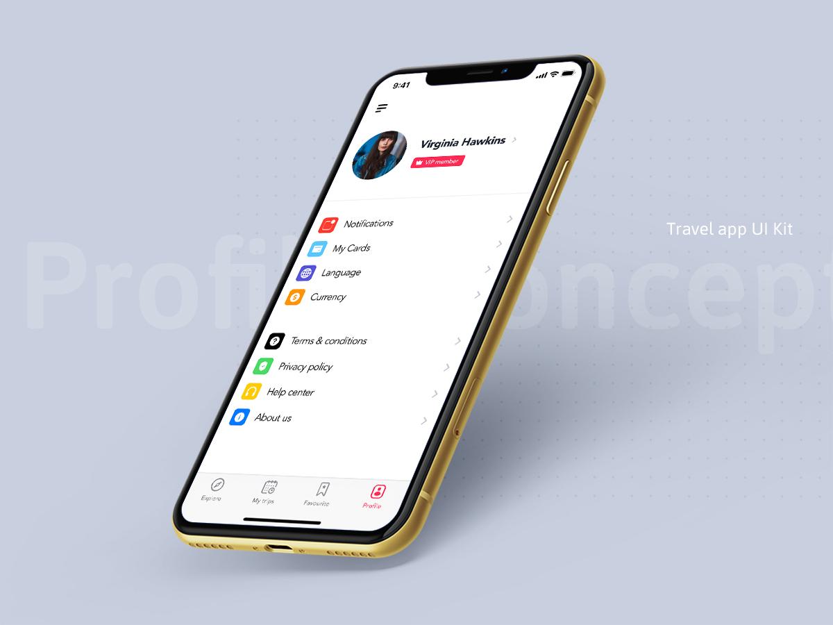 Profile ui concept for travel app 231123