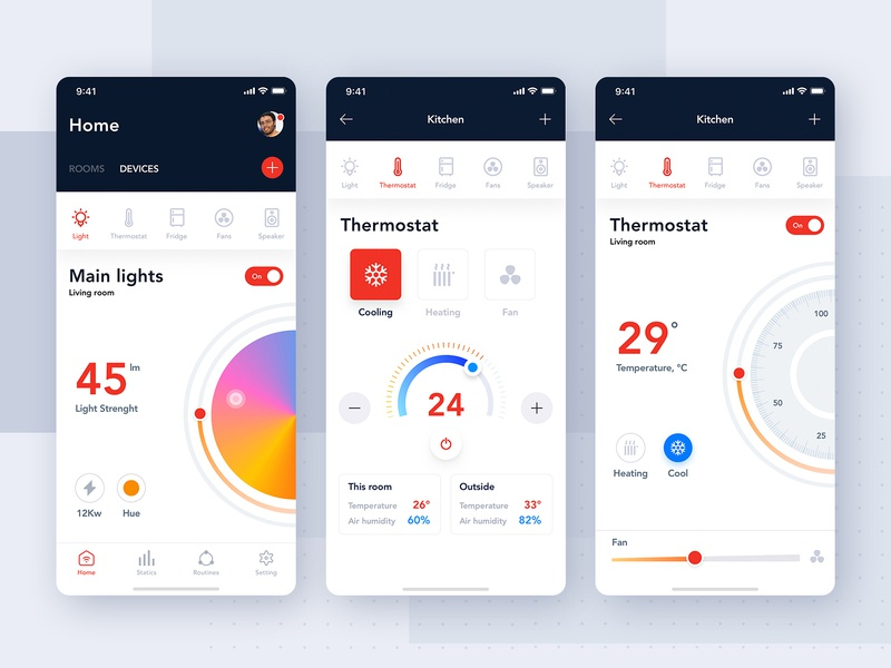 Smart Home and IoT App UI Kit on boarding menu tracking map profile sign up login mobile ui kit ui material ios interface articles statistics iot device smarthome