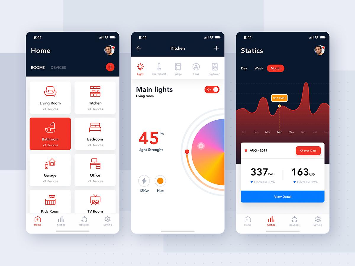 Smart Home App - iOS & Android UI Kit device mobile ui kit ui control ios interface articles statistics smarthome
