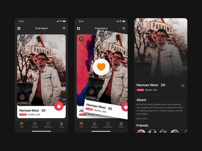 Swipe card & user profile mobile UI template
