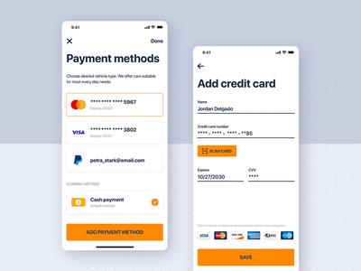 Car rental mobile UI - Payment methods