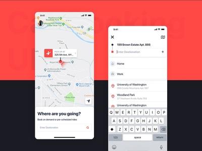 Car Booking UI mobile concept - Destionation