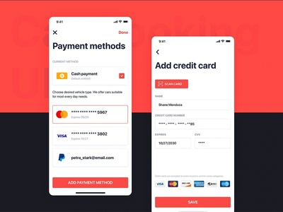 Car Booking UI mobile concept - Payment method