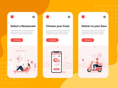 On boarding concept for Food Delivery service