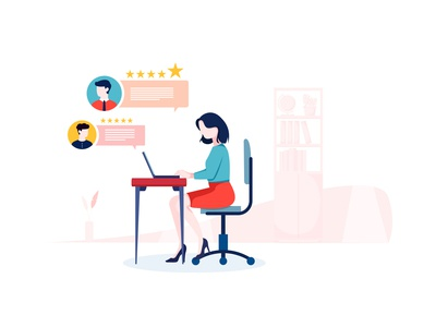 Customer Review flat concept for Landing page