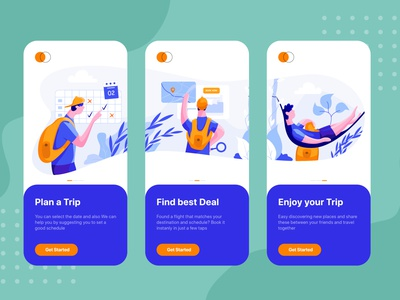 On boarding screens for Online Booking Travel app map summer plan tour booking vacation trip bag backpack tourist airport airplane travel