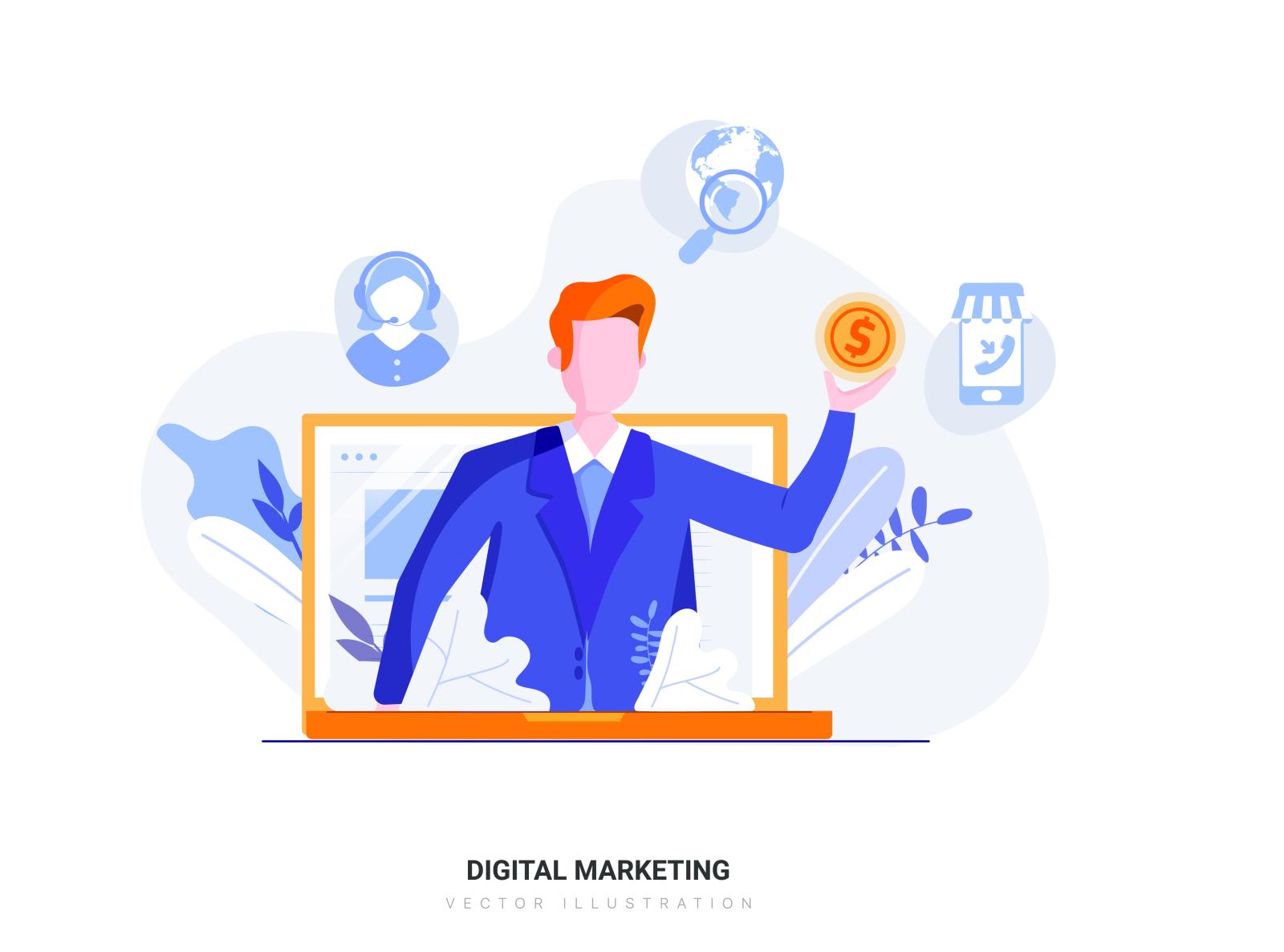 digital marketing vector illustration by hoangpts on dribbble digital marketing vector illustration