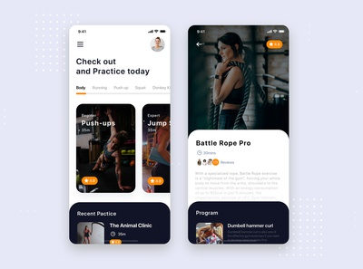 Fitness Training Mobile App UI Kit Template