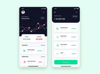 Finance App UI Kit design for sketch