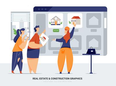 Real Estate & Construction Vector Scenes
