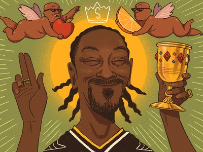 Gin & Juice art hip hop yellow green gold digital color commercial portraiture likeness portrait editorial food and drink liquor gin gin and juice snoop dogg snoop music illustration