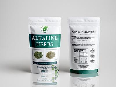 Alkaline Herbs cbd oil branding minimalist clean supplement labeldesign illustration label design premium design packaging design