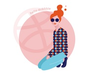 Hello Dribbble design retro flat beauty pop art fashion girl woman female dribbble hello debut