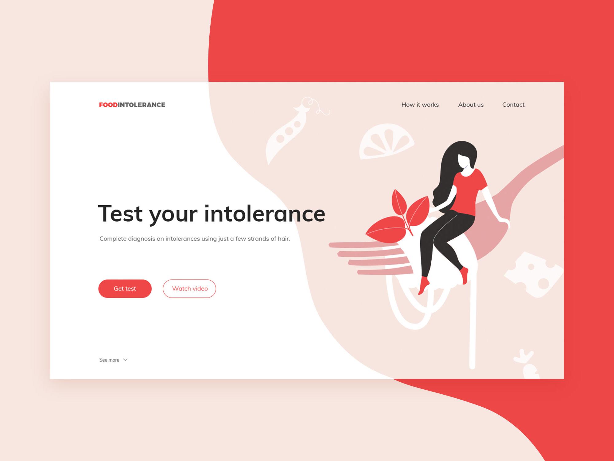 Food intolerance testing landing page by Aleksandra