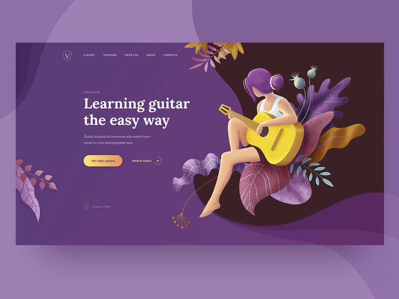 Guitar Lessons Promo Page concept first screen education school guitar music vector page landing web deisgn web ux ui illustration girl person fantasy