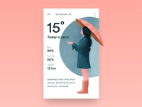 Weather App Concept umbrella girl android app ux rain raining illustration weather app weather