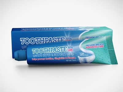Toothpaste Packaging Mock-Up care clean dental dentist doctor health health care medical medicine mock-up mockup oral package packaging tooth tooth brush toothpaste white