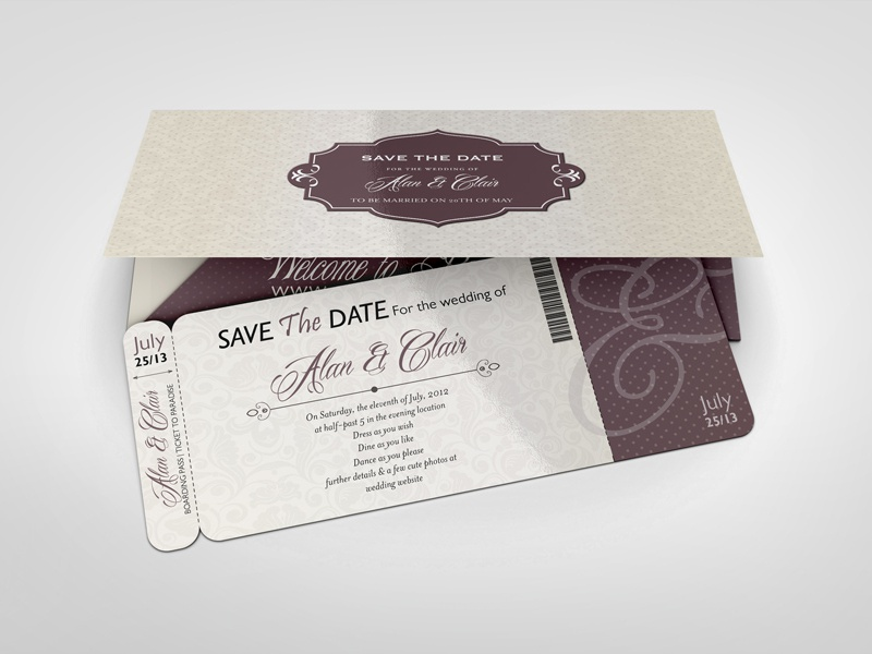 boarding pass invitations mock
