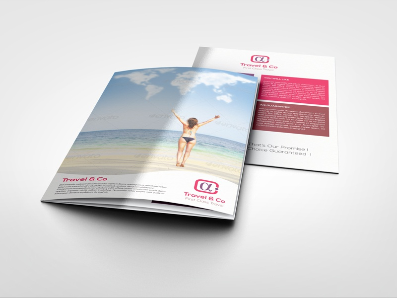 Travel Agency Tourism Tri Fold Brochure Template brochure catalog design holiday indesign layered modern stylish tourism travel agency tri-fold