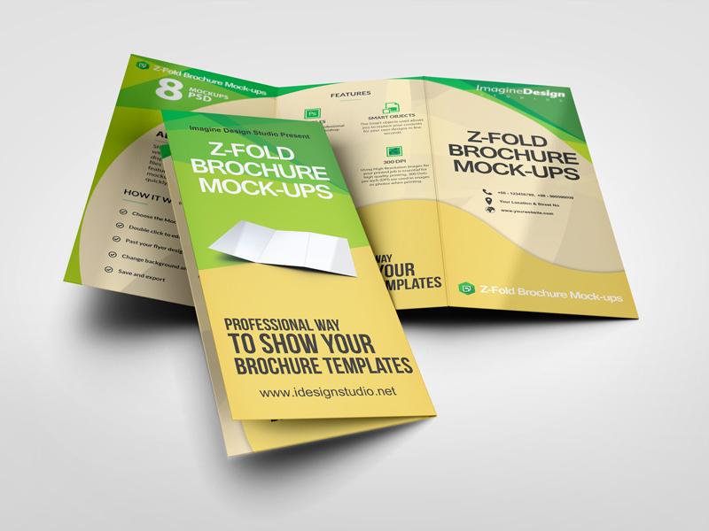 z fold brochure mockup by idesignstudio dribbble dribbble