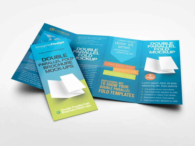 4 column brochure template - double parallel fold brochure mock up by idesignstudio
