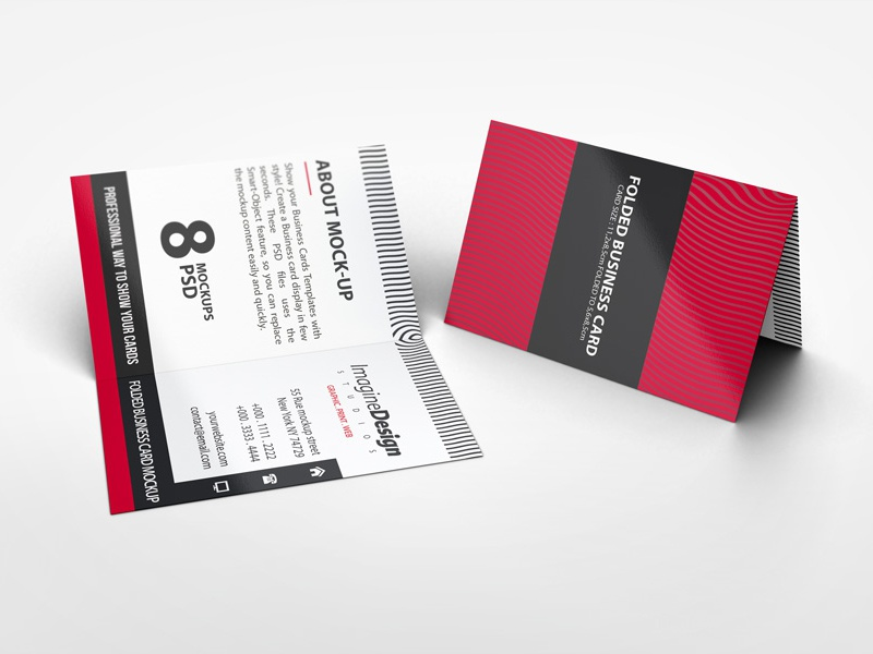 Folded Business Card Mockup V2 Visiting Stationery Professional Mockups Fold Easy Crease
