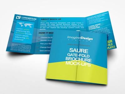 Square Gate Fold Brochure Mockup By Idesignstudio  Dribbble