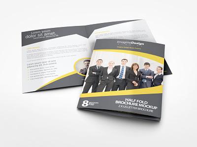 Half Fold Brochure Mockup stationary showcase mock-up mockup letter brochure us letter bi fold bi-fold brochure half fold half-fold