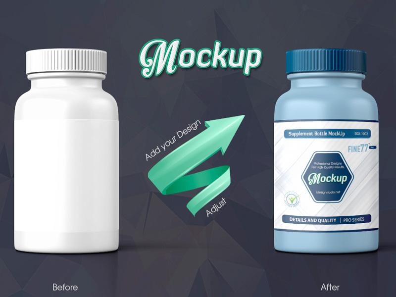 Supplement Bottle Mockup supplement pills pharmacy nutrients mockup mock-up medicine drug container capsules bottle antibiotics