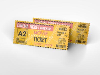 Cinema Ticket Mockup movie mockup mock-up event ticket event entrance coupon concert cinema tickets cinema ticket mockup cinema admission