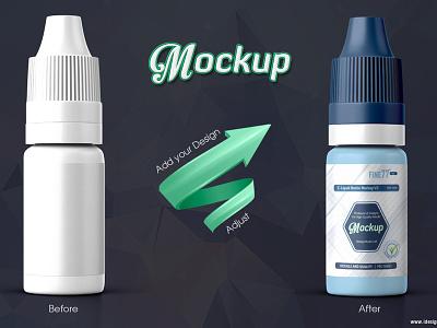 E-liquid Bottle Mockup V2 e-liquid bottle smoke e-cig eliquid medical mock-up packaging mockup flavour dropper bottle