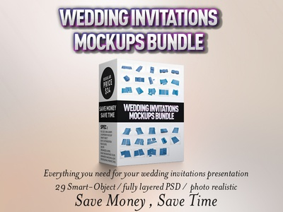 Wedding Invitations Mockups Bundle by idesignstudio Dribbble