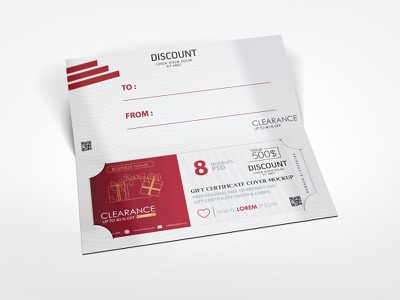 Gift Certificate Cover Mock-up gift cover gift voucher discount voucher mockup design cover certificate gift