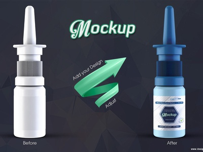 Nasal Spray Bottle Mockup psd plastic nose mockup mock-up medicine spray packaging nasal dropper care bottle