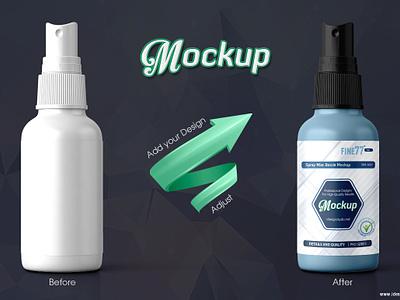 Spray Mist Bottle Mock-up cosmetic care hair cleanser perfume scent oil mister mock-up mockup bottle mist spray amber