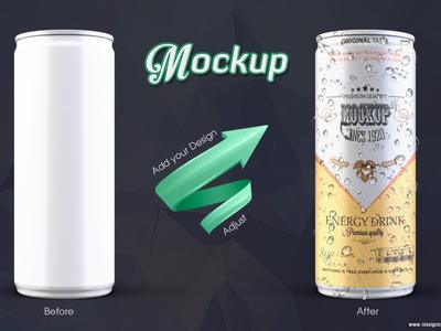 Can mockup 250 ml 250ml tall mockup mock-up juice fresh energy drink cola coke coca can bottle beverage beer aluminium