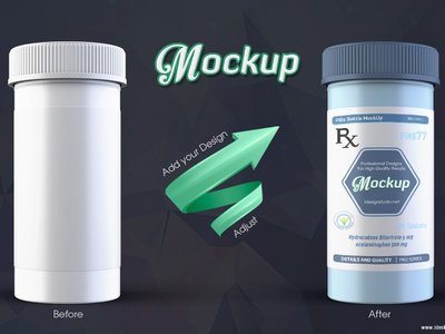 Pill Bottle Mockup supplement package packaging pill bottle bottle label protein vitamin pills pharmacy medicine label container antibiotics capsule health mockup mock-up bottle mockup bottle