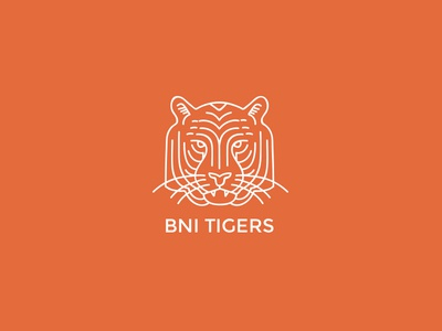 Bni Tigers Branding branding logo tiger orange business networking design outline