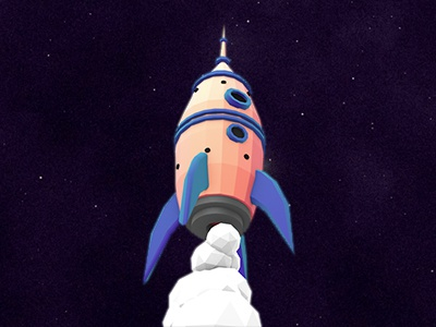 Deep-Space-Rocket lowpoly low poly rocket space animation 3d c4d universe star