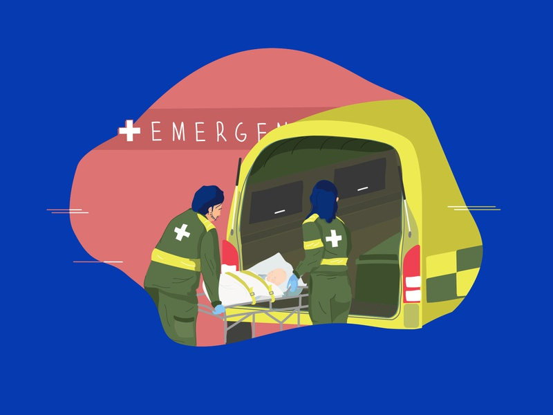 Emergency Shot care illness baby hospital paramedics ambulance emergency illustration