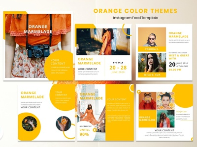 Instagram Feed Template - Orange Color color orange instagram story instagram post instagram template instagram design graphicdesign branding