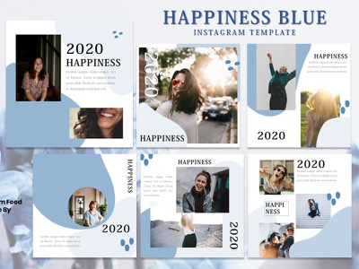 Instagram Feed Template - Happiness Blue presentation template instagram story instagram post design instagram instagram template graphicdesign branding