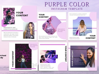 Instagram Feed Template - Purple Themes fashion brand fashion instagram story instagram post instagram template instagram design graphicdesign branding