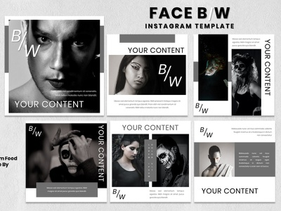 Instagram Feed Template - Face B/W fashion brand instagram story instagram post instagram template instagram design graphicdesign branding