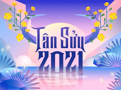 Happy New Year 2021 vietnam firstshot debut gradient typogaphy illustraion 2021 happy new year