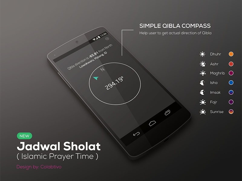 Qibla Compass for Islamic Prayer Time (Concept) moslem prayer time android mobile app islam ramadhan