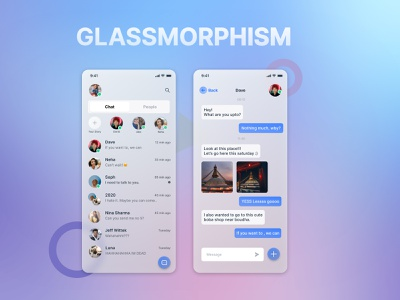 Glass morphism web development mobile app chat app uidesign ux design glass morphism web design