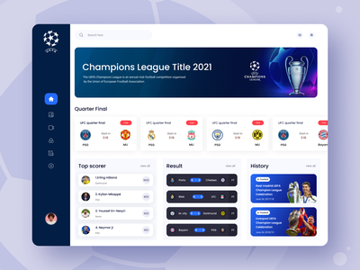 Dashboard UI Exploration web app ronaldo sport soccer player uefa champions league football sports dashboard 2021 trend typography minimal design ux dashboad ui dashboard ui kit sports