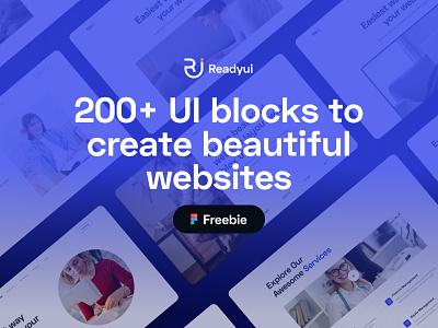 Download 200+ UI blocks Figma File Free freebies figma freebie blocks web design 2021 trend minimal minimal design ready ui design code bootstrap ux ui
